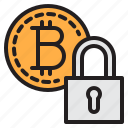 bitcoin, blockchain, coin, cryptocurrency, finance, lock, money icon