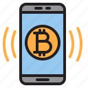 bitcoin, blockchain, coin, cryptocurrency, finance, money, smartphone icon