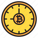 bitcoin, blockchain, coin, cryptocurrency, finance, money, time icon
