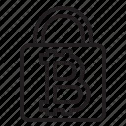 bitcoin, blockchain, coin, cryptocurrency, finance, lock, money icon