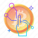 bitcoin, click, hand, pick icon