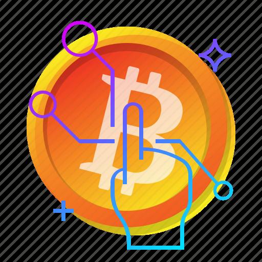 bitcoin, click, hand, pick icon