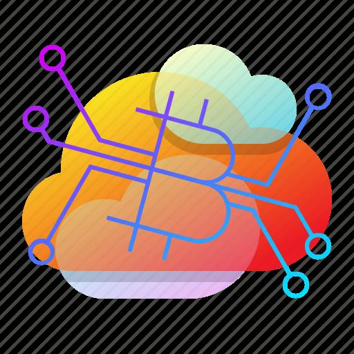 bitcoin, cloud, data, server icon