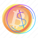 bitcoin, dollar, exchange, sign icon