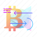 arrows, bitcoin, exchange, transaction icon