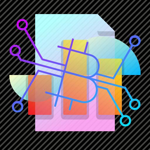 bar, bitcoin, chart, sheet icon
