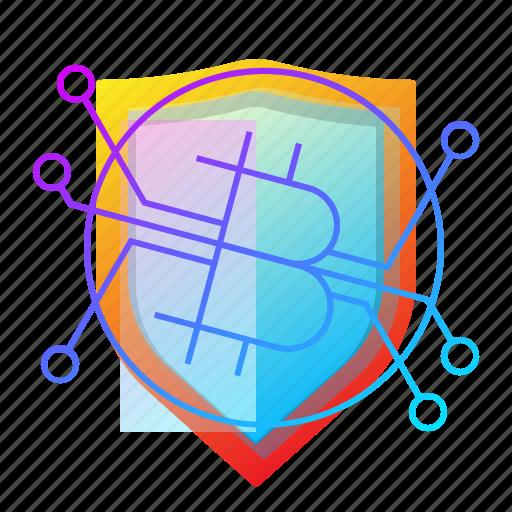 bitcoin, crypto, protection, shield icon