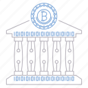 bank, bitcoin, cryptocurrency, digital, technology icon