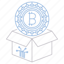 bitcoin, block, box, cryptocurrency, digital, reward, technology icon
