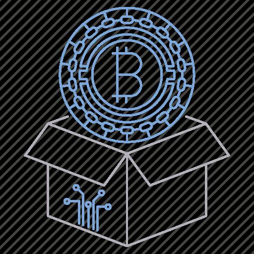 bitcoin, block, box, cryptocurrency, digital, reward, technology icon