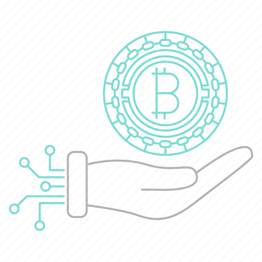 bitcoin, cryptocurrency, digital, hand, investments, technology icon