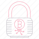 bitcoin, cryptocurrency, digital, lock, protection, technology icon