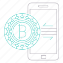 bitcoin, conversion, cryptocurrency, digital, exchange, mobile, technology icon