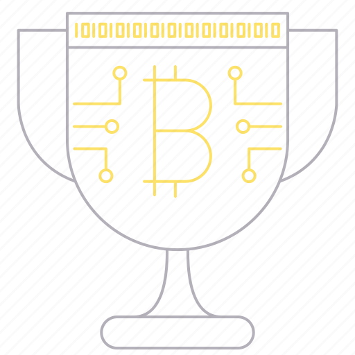 bitcoin, cryptocurrency, cup, digital, technology, trophy, winner icon