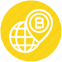 bitcoin, cryptocurrency, global, globe, map pin, world, worldwide icon