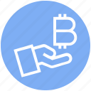 bitcoin, blockchain, coin, cryptocurrency, digital money, hand, money icon