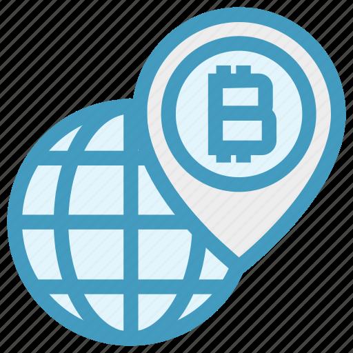 bitcoin, cryptocurrency, global, globe, map pin, world, worldwide icon