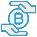 bitcoin, cryptocurrency, currency, hand, money, payment, safe icon