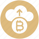 arrow, bitcoin, cloud, cloud computing, coin, cryptocurrency, up icon