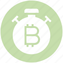 bitcoin, measure, speed, stopwatch, time, timepiece, timer icon