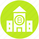 bank, bitcoin, building, business, cryptocurrency, house, money icon