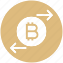 arrows, bitcoin, coin, cryptocurrency, exchange, right and left, transaction