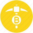 axe, bitcoin, crypto, cryptocurrency, miner, pick axe, processing