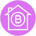 apartment, bitcoin, building, home, house, property, virtual money