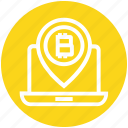 bitcoin, blockchain, coin, cryptocurrency, income, laptop, map pin icon