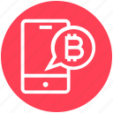 bitcoin alerts, bitcoin notification, bitcoins, cryptocurrency alarm, mobile, smartphone, sms cryptocurrency icon