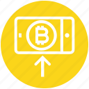 bitcoin, interface, mobile, online, smartphone, technology, up icon