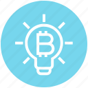 bitcoin, bulb, cryptocurrency, idea, innovation, light, light bulb icon