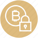 bitcoin, blockchain, coin, cryptocurrency, digital currency, lock, security icon