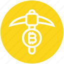 axe, bitcoin, crypto, cryptocurrency, miner, pick axe, processing icon
