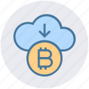 arrow, bitcoin, cloud, cloud computing, coin, cryptocurrency, down icon