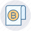 bitcoin paper, blockchain paper, cryptocurrency paper, document icon