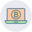 bitcoin, blockchain, coin, cryptocurrency, income, laptop, money icon