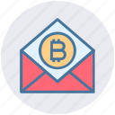 bitcoin, blockchain, cryptocurrency, digital currency, envelope, latter, mail icon