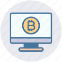 bitcoin, display, lcd, lcd monitor, monitor, screen, television icon
