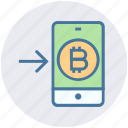 bitcoin, interface, left, mobile, online, smartphone, technology icon