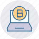 bitcoin, blockchain, coin, cryptocurrency, income, laptop, macbook