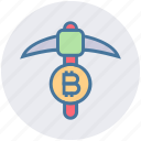 axe, bitcoin, crypto, cryptocurrency, miner, pick axe, processing icon
