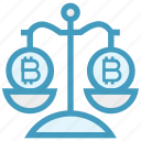 balance scale, bitcoin, coins, cryptocurrency, justice, law, scales icon