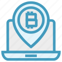 bitcoin, blockchain, coin, cryptocurrency, income, laptop, map pin