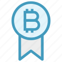 award, badge, bitcoin, cryptocurrency, investment, medal, prize icon