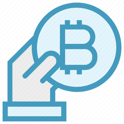 bitcoin, blockchain, coin, cryptocurrency, digital money, hand, money icon