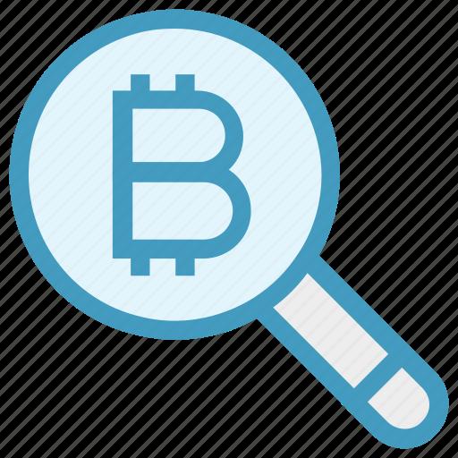 bitcoin, bitcoin icon, find, magnifier, magnifier icon, search, zoom icon