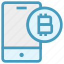 bitcoin, interface, mobile, money, online, smartphone, technology icon