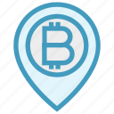 bitcoin, cryptocurrency, location, map, money, pin, pointer icon
