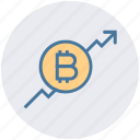 arrow, ascend, bitcoin, blockchain, graph, increase, up icon